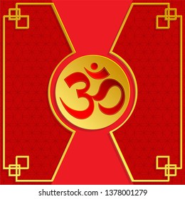 Om sacred symbol in red with gold flower of life on red background for, banner, web, (translate : Ohm)