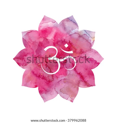 Om sign lotus flower pink watercolor stock vector royalty free om sign in lotus flower pink watercolor texture vector isolated spiritual buddhist mightylinksfo