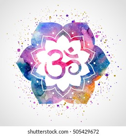Om sign in lotus flower. Vector isolated. Spiritual Buddhist, Hindu symbol
