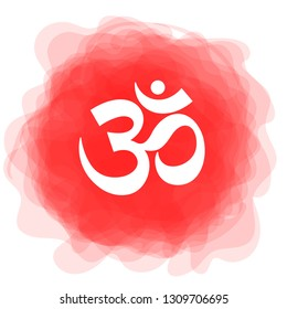 Om sign. Vector sacral icon. Red smoky circle. Symbol. Meditation. Yoga