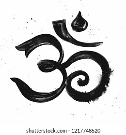 Om symbol. Aum - symbol of Hinduism , isolated vector hand drawn calligraphy illustration.