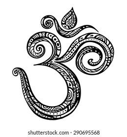 Om symbol. Aum, ohm. Hand drawn detailed vector illustration.