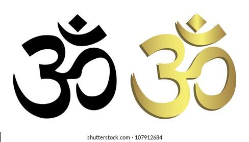 Om symbol in black and gold