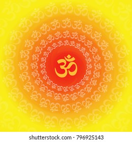 om symbol circular pattern background