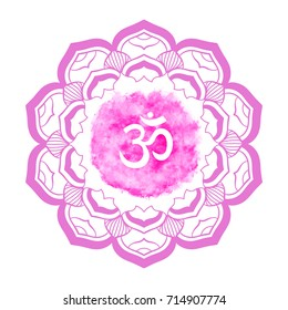 Om symbol with hand drawn mandala. Watercolor vector background. Oriental decorative ornament  can be used for greeting card, wedding invitation, yoga poster, coloring book.