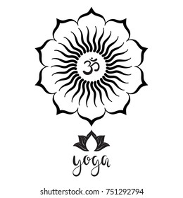 Om symbol with hand drawn  mandala, Lotus flower.  Yoga. Lettering. Set of oriental ornaments for yoga studio  poster and logo, coloring book.