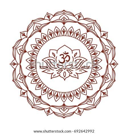 Om symbol hand drawn mandala lotus stock vector royalty free om symbol with hand drawn mandala and lotus flower set of oriental ornaments for greeting mightylinksfo