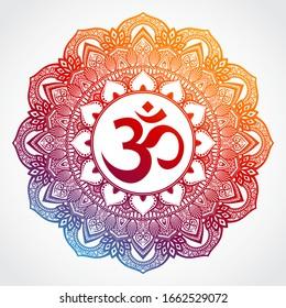 om symbol on color ornamental mandala
