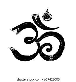 Om symbol. The sacred symbol in Buddhism and Hinduism.