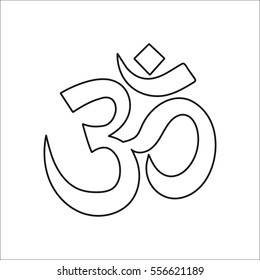 Om symbol sign line icon on background