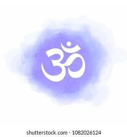 Om symbol violet. Buddhism, yoga sign. Smoke, watercolor