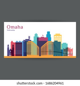 Omaha city, Nebraska architecture silhouette. Colorful skyline. City flat design. Vector business card.