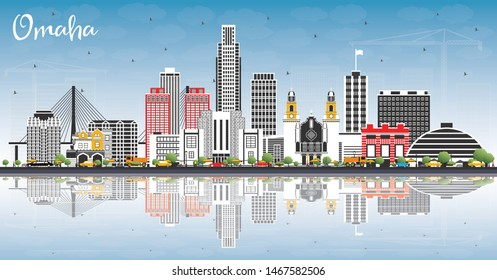 Omaha Nebraska City Skyline with Color Buildings, Blue Sky and Reflections. Vector Illustration. Business Travel and Tourism Concept with Historic Architecture. Omaha USA Cityscape with Landmarks.
