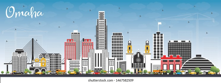 Omaha Nebraska City Skyline with Color Buildings and Blue Sky. Vector Illustration. Business Travel and Tourism Concept with Historic Architecture. Omaha USA Cityscape with Landmarks.