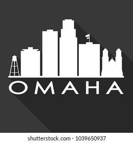 Omaha Nebraska Flat Icon Skyline Silhouette Design City Vector Art Famous Buildings.