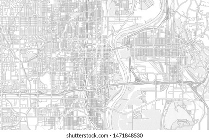 Omaha, Nebraska, USA, bright outlined vector map with bigger and minor roads and steets created for infographic backgrounds.