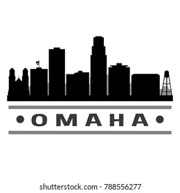 Omaha Nebraska USA Skyline Silhouette Stamp City Design Vector Art Template