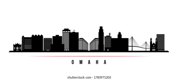 Omaha skyline horizontal banner. Black and white silhouette of Omaha, Nebraska. Vector template for your design.