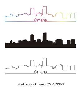 Omaha skyline linear style with rainbow in editable vector file