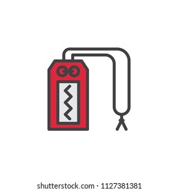 Omamori filled outline icon, line vector sign, linear colorful pictogram isolated on white. Japanese Amulet symbol, logo illustration. Pixel perfect vector graphics