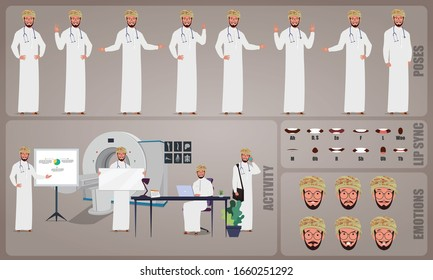 Oman Doctor character Set. Collection of character body Poses, facial gestures, medical activities and Lip syncs poses. Ready-to-use and animate, character set. Vector illustration.