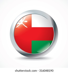 Oman flag button - vector illustration