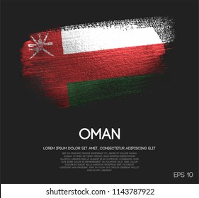 Oman Flag Made of Glitter Sparkle Brush Paint Vector