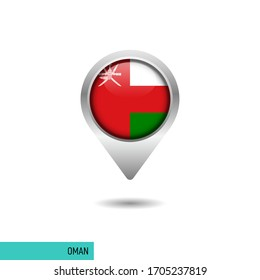 Oman flag map pin vector design template