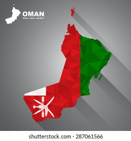 Oman flag overlay on Oman map with polygonal and long tail shadow style (EPS10 art vector)