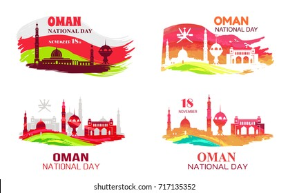 Oman national day held on 18 november, picture demonstrating mosques, titles and flags vector illustration isolated on white background