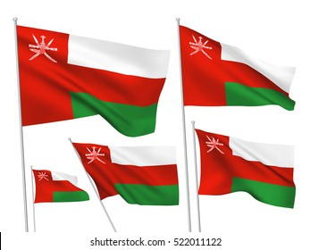 Oman vector flags set. 5 wavy 3D cloth pennants fluttering on the wind. EPS 8 created using gradient meshes isolated on white background. Five fabric flagstaff design elements from world collection