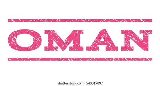 Oman watermark stamp. Text caption between horizontal parallel lines with grunge design style. Rubber seal stamp with dirty texture. Vector pink color ink imprint on a white background.