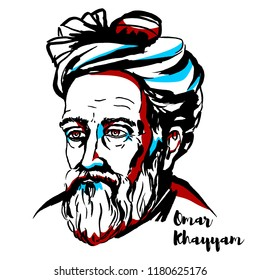 Omar Khayyam engraved vector portrait with ink contours. Persian mathematician, astronomer, and poet.