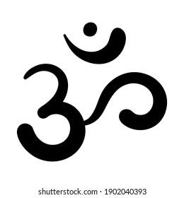 Om,Aum,symbol of divine Trimurti (triad) of Brahma, Vishnu and Shiva.Sacred sound,primordial mantra,word of power,pictogram.Hand-drawn sign of yoga,meditation,sacredness,spirituality. Isolated