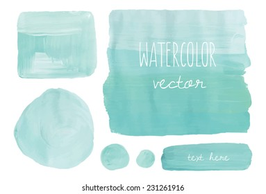 Ombre Background with Teal Painted Rectangle and Vector Paint Shapes
