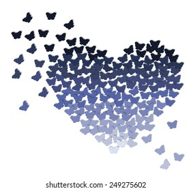 Ombre heart made of butterflies in shades of blue or purple on transparent white background
