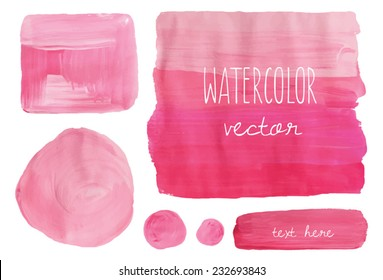 Ombre Pink Painted Vector Shapes.