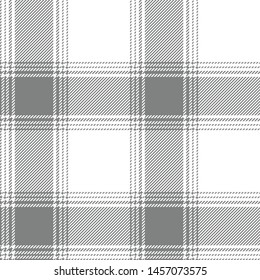 Ombre plaid pattern. Seamless tartan check plaid background vector in grey and white. Gingham / vichy / buffalo check style.