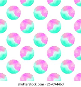 Ombre stains. Seamless pattern with balls. Hand-drawn background. Vector illustration. Real watercolor drawing.