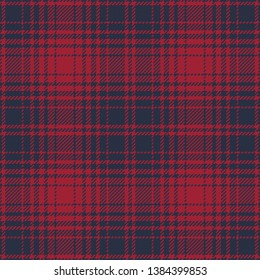 Ombre Twill Plaid in Red & Navy--Seamless Pattern Vector Illustration