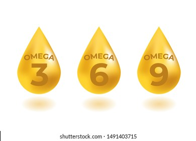 Omega 3, 6, 9 acids drops gold icon. Polyunsaturated fatty.  Nutrition skin care design and Beauty treatment. Vector illustration.
