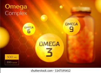 Omega 3 6 9 Complex template, background