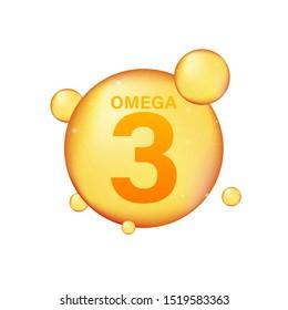 Omega 3 gold icon. Vitamin drop pill capsule. Shining golden essence droplet. Vector illustration.