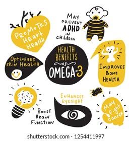 Omega 3 healthy benefits. Funny hand drawn infographic poster. Made in vector. Isolated on white.