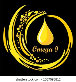 Omega 9.  Vitamin and Nutrients for Kids  Concept. Icon. Golden drop. Vector illustration