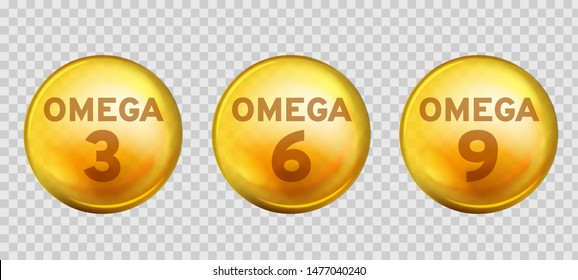 Omega acids. Healthy food supplements fatty acid epa dha 3, 6 and 9 organic vitamin nutrient fish oil, diet golden drops vector 3d benefits gold three design image