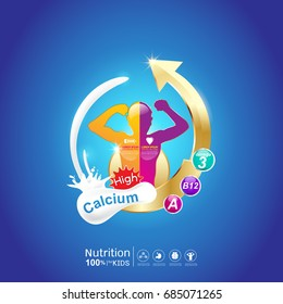 Omega Calcium and Vitamin - Concept Logo Products for Kids.