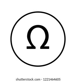 Omega icon in circle. Vector Illustration