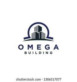 A omega logo design template. Awesome omega with building logo. A omega with building lineart logotype.