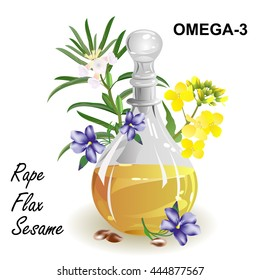 Omega-3 fatty acid sources. Set of herbs (rapeseed, flax, sesame) and glass jug with oil. Hand drawn vector illustration on white background.
